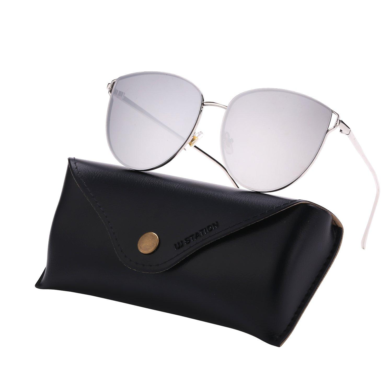 Mirrored Sunglasses for Women, Cat Eye Sunglasses, Rimless Sunglasses with Sunglasses Case (silver)