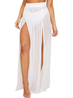 17bb0f888 Cover Ups for Swimwear Women's Tie Side Boho Split Long White Beach Dress  Chiffon Sheer Maxi