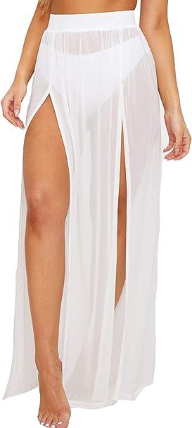 Justalwart Falda de Playa Blanca Transparente para Traje de baño ...