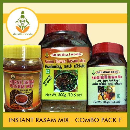 Shastha Instant Rasam Mix Combo Pack of F(Contains 3 Items) Neem Flower Rasam Mix, Kollu Rasam Mix & Kandathippili Rasam Mix