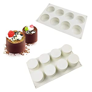 Silicone Mousse Cake Molds for Baking Brownie Chocolate Truffle Pudding Christmas Desserts,Nonstick, Easy Release, Food Grade Silicone,BPA Free,Set of 1 (3D Tall Cylinder)