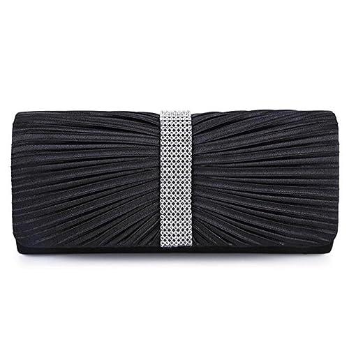 c0729e533dc1 U-Story Women s Pleated Satin Rhinestone Wedding Bridal Clutch Handbags  Evening Bag (Black)