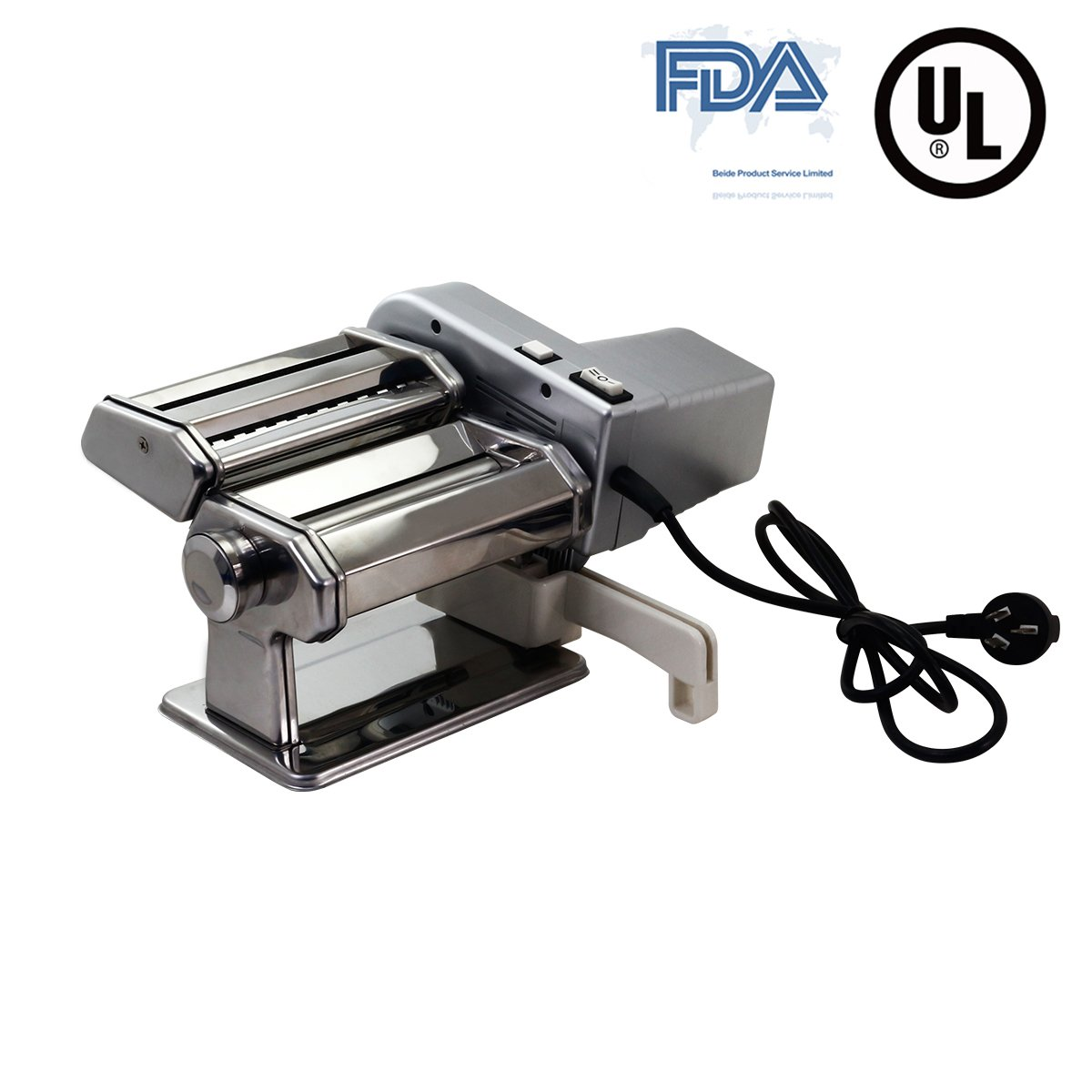 Yunko Electric Pasta Maker Machine with Motor Set Stainless Steel Pasta Roller Machine For Homemade Lasagne Fettuccine Tagliolini Dismountable Cutter Silver