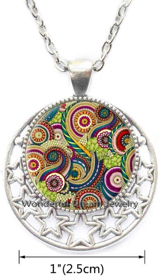 Waozshangu Silver Plated for gilrs Colorful Mandala Necklace Indian Om Henna Yoga Pendant Glass Pendant Buddhism Spiritual Jewelry,PU166