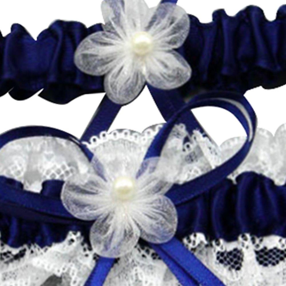Awtlife Bleu roi Mariage porte-jarretelles en dentelle avec Toss Away Fleur D/écor