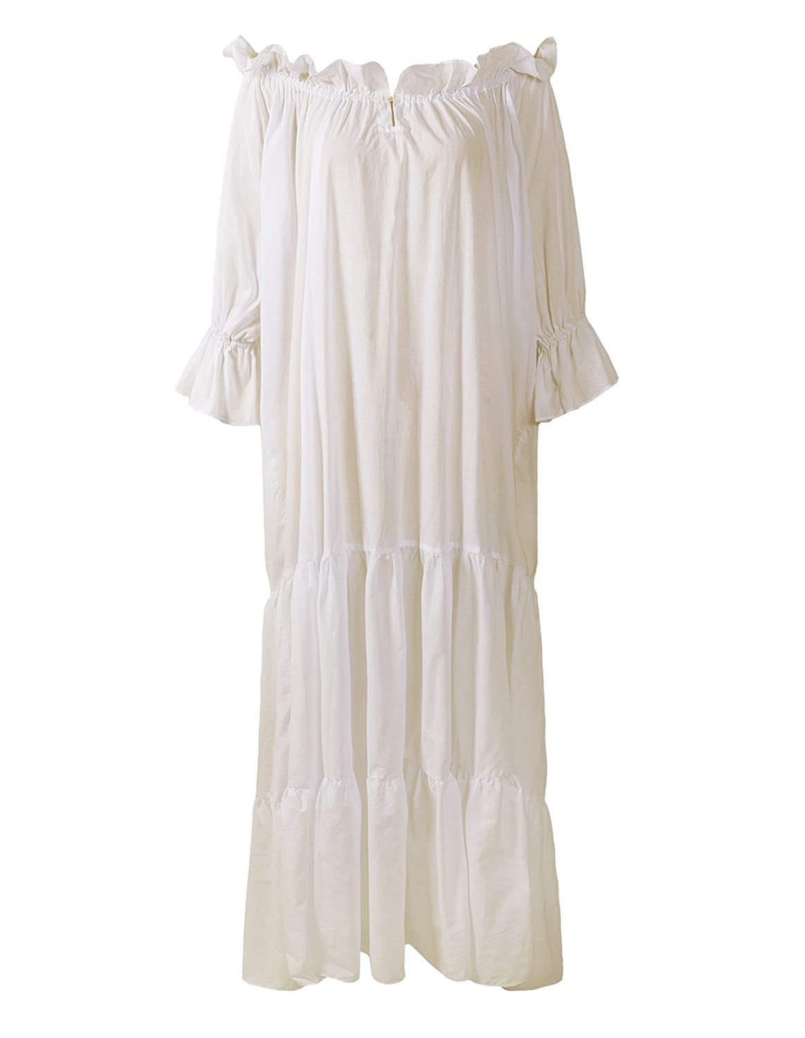 Renaissance Medieval Ruffled Tiered Sleeve Classic Cream Chemise - DeluxeAdultCostumes.com