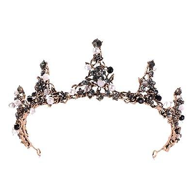 Mamum Accesorio para el Pelo Corona,Corona Llena de Diamantes Circonita Negra Flor de Apertura Diadema Diadema Señoras Joyería (Oro): Juguetes y juegos