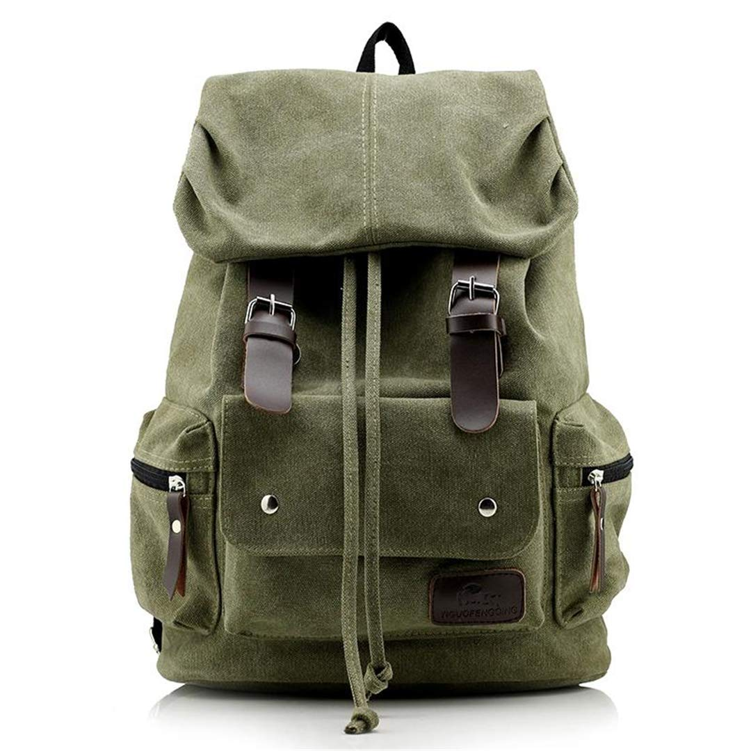 AINiubia ヴィンテージ レザー ミリタリー ショルダーバッグ メンズ レディース バックパック スクールバッグ カジュアル キャンバス 旅行バッグ B07MYWXZBQ Military Green Bag as picture