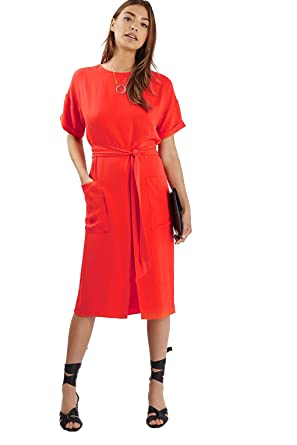 TOPSHOP Relaxed midi dress with self tie belt and front split detail and pockets size 8