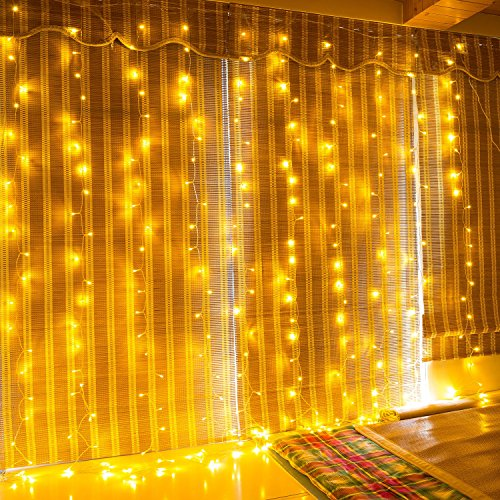 M-Better LED String Lights Curtain Lights 300LEDS 8 Modes Indoor Outdoor Window Curtains String Lights,Warm White Garden Lights for Wedding,Valentine's Day, Christmas, Party, Bedroom&Garden by M-Better