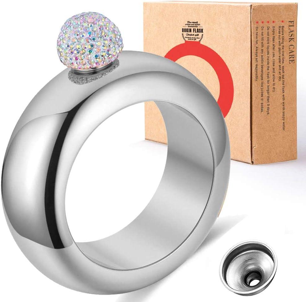 plata y tapa de diamantes de imitaci/ón negro Juego de embudo de 3,5 oz 2 piezas .