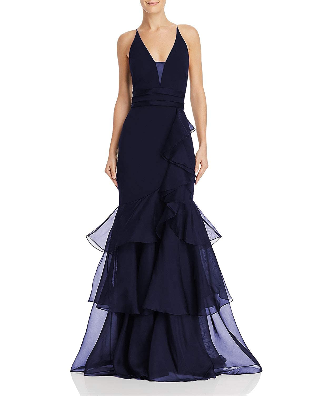 Navy Wanshaqin Women's Tiered Organza Ruffles Formal Evening Party Gown VNeck Sexy Open Back