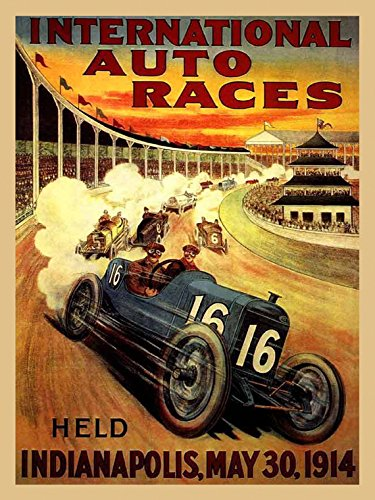 1914 Indianapolis International Auto Car Races Grand Prix Vintage Poster Repro 12