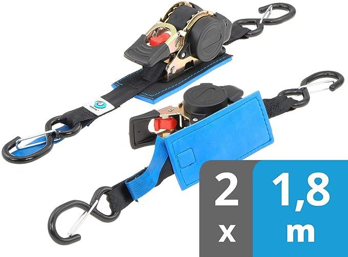 valonic Automatik Spanngurt | 2 Stück 1,8m | Spanngurte mit Haken | gepolsterte Ratsche | schwarz | 25mm Gurtbreite | 300 kg nach EN12195-2 | Zurrgurt, Ladungssicherung Motorrad