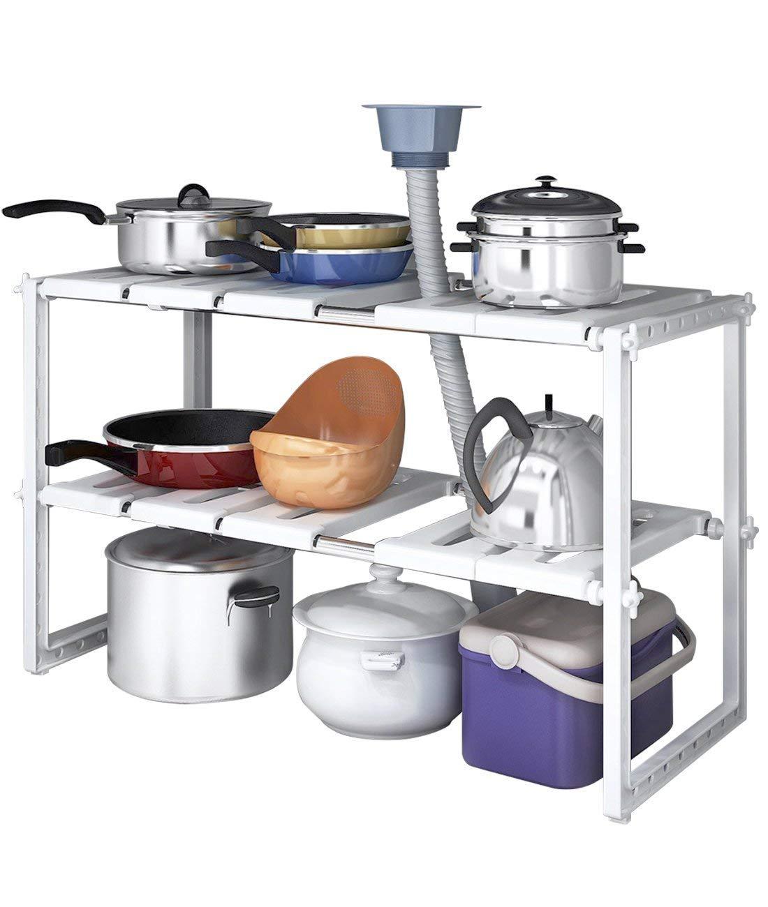 Cestello per lavandino a mensole, per la parte inferiore del lavandino, regolabile, estensibile, multiuso, per cucina o bagno, colore: bianco Generic
