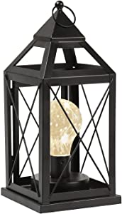 "Circleware Lantern Metal Cage Style Desk, Table, or Hanging Lamp - Cordless Accent Light with LED Bulb - 10.25"" High"
