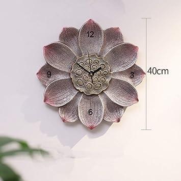 Pared reloj decoración moderna lotus batería mudo digital comedor living comedor sala -B 40x40cm(
