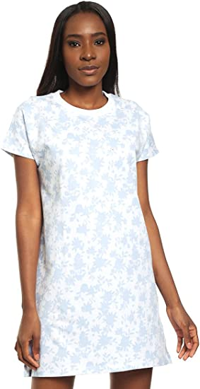 Benetton - Vestido de punto blanco y algodón, media manga, estampado floral azul: Amazon.es: Ropa y accesorios