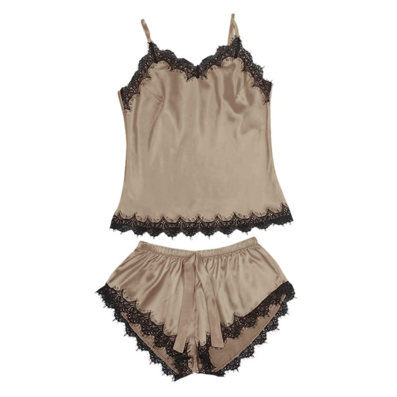 Fashion Womens Lace Sexy Sleepwear Kit Ladies Sleeveless V-Neck Nightgown Polyester Lingerie BG M