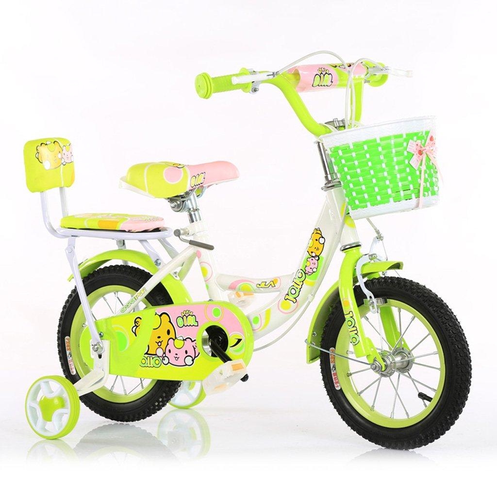 子供用自転車3-5歳子供用自転車14インチ用赤ちゃん用自転車ハイカーボンスチールベビーキャリッジ、ピンク/青/緑 (Color : Green) B07CXNJXTD