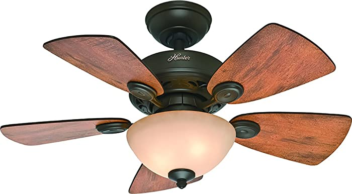 Hunter Indoor Ceiling Fan with light and pull chain control - Watson 34 inch, New Bronze, 52090