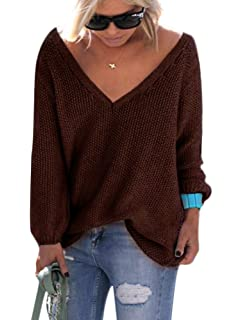 8c56696b0a322d Women s Oversized Baggy Knit V-Neck Pullover Loose Sweater Jumper Coffee L