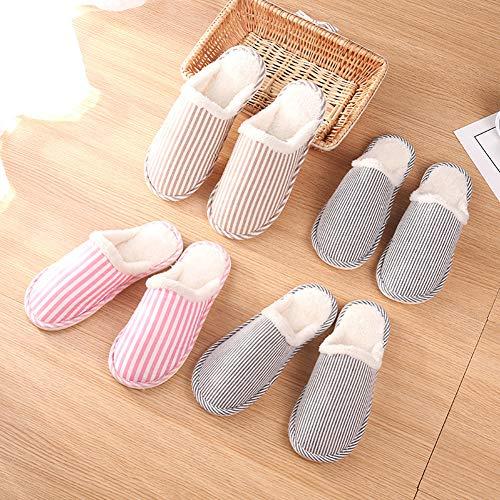 WliYaGgWinter Warm Plush Fashion Striped Couple Slippers Anti-Slip Bedroom...