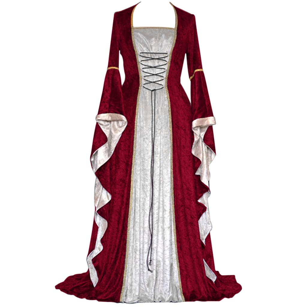 ℱLOVESOOℱ Renaissance Medieval Costume Dress for Women, Trumpet Sleeves Fancy Gothic Lace Up Over Long Dress Cosplay Gown Wine by ℱLOVESOOℱ