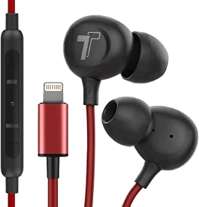 Thore iPhone Earphones (V60) Wired in Ear Lightning Earbuds (Apple MFi Certified) Headphones with Microphone/Remote for iPhone 12/11/Pro Max/Xr/Xs Max/X/8/7 - Red