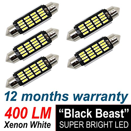 "5 X TMH 211 2 212 2 569 578 LED Bulb White 6000K Super Bright 1.72"" 31mm. 36mm. 41mm 42mm Festoon Canbus Error Free, Work As Interior Dome Map Lights, Door Courtesy Trunk Lights, License Plate Lights"