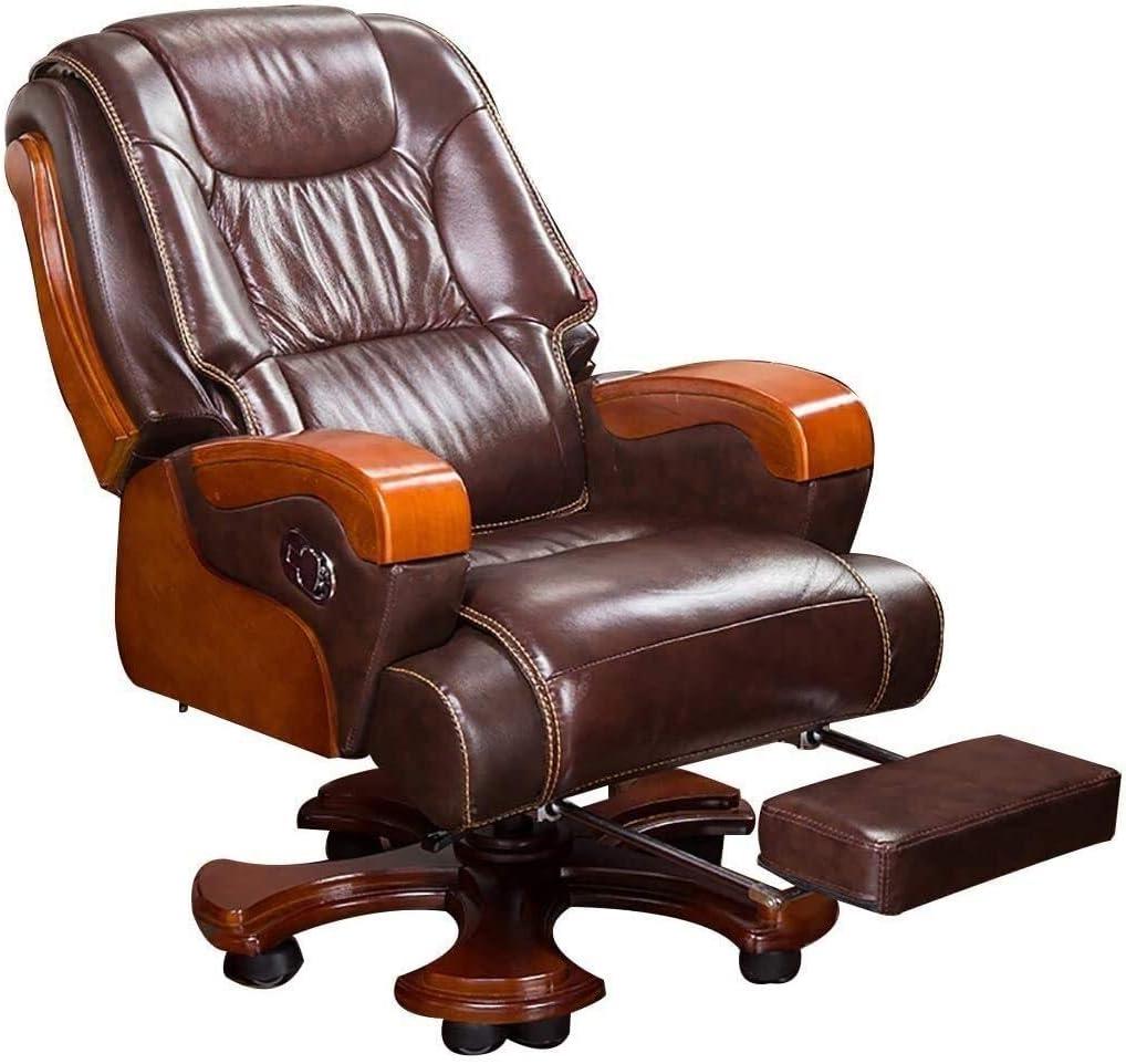 WJMLS Ejecutivo giratoria ajustable silla giratoria de oficina con brazos soporte lumbar Escritorio Silla ergonómica Silla ejecutiva de negocios de madera maciza silla reclinable Silla giratoria Inici