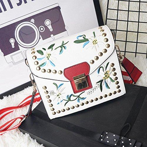 Aoligei Sac à bandoulière unique coréenne version féminine du mode broderie petit côté paquet loisirs oblique croisée femelle sac à fermeture B