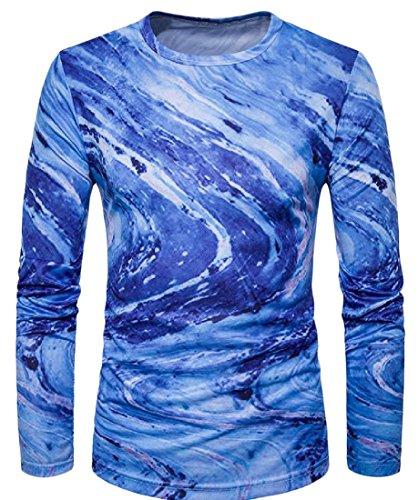 Generic Men's Round Neck Causal Swirl Floral T-Shirt Top Tees Sapphire Blue (Round Swirl Top)