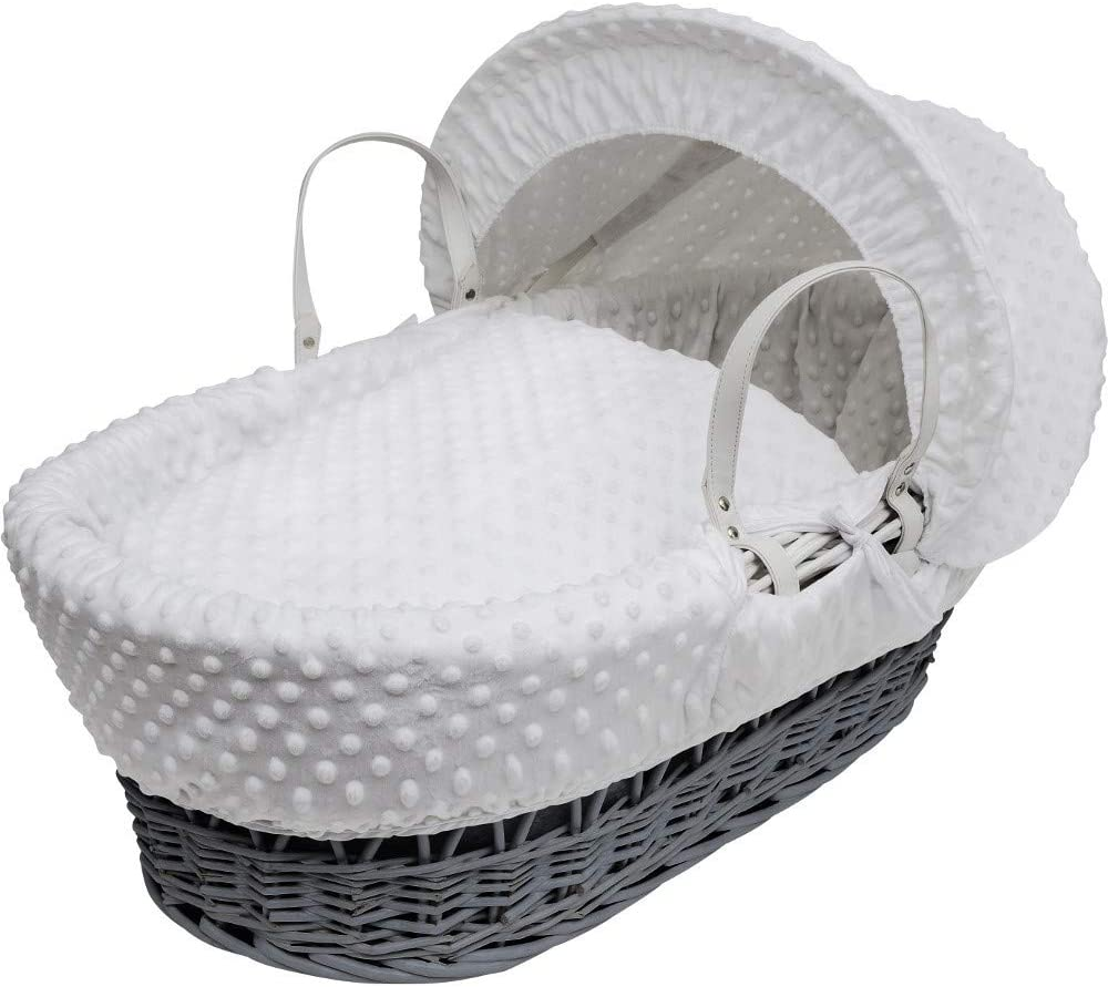 Isabella Alicia Pink Dimples Designer Baby wicker Moses basket Made In The U.K.