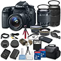 Canon EOS 70D 20.2 MP Digital SLR Camera w/ Dual Pixel CMOS AF Full HD 1080p Video w/ Movie and EF-S 18-55mm F3.5-5.6 IS STM +Canon 75-300mm III Zoom Lens + 15pc Accessory Kit - International Version Basic Intro Review Image