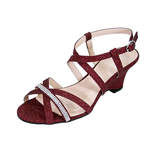 ed20f1860 Floral Joanne Women Extra Wide Width Chic Rhinestone Strappy Wedge Party  Heeled Sandals RED 5
