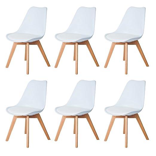 DORAFAIR Pack de 6 Tulip Comedor/Silla de Oficina Silla escandinava,con Las piernas de Madera de Haya Maciza y cojín cómoda,Blanco