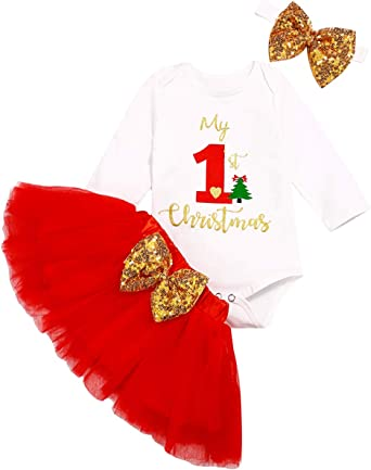 Headband Set Christmas Specials!Newborn Infant Baby Girl Xmas Outfits-Letter Printing Romper Tops+Tutu Skirt