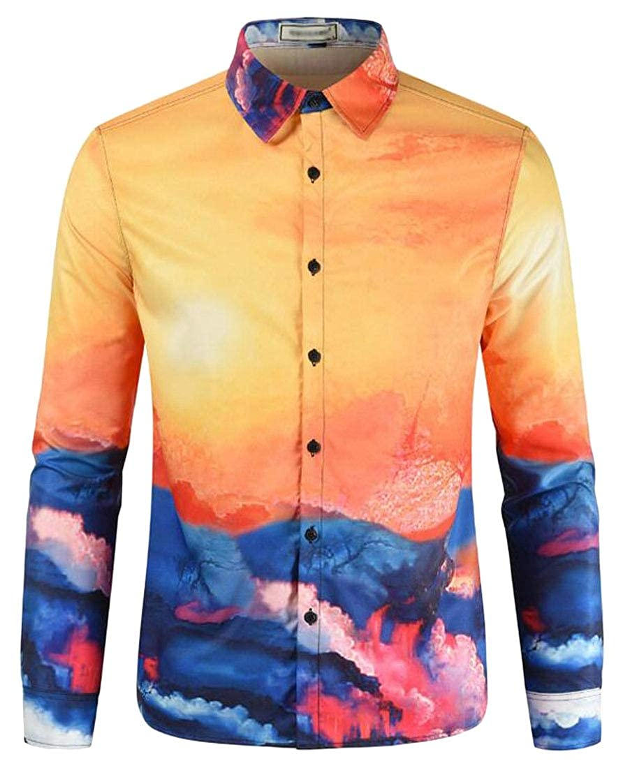 Bloomyma Mens Button Up 3D Print Casual Stylish Print Long Sleeve Shirt Blouse Top