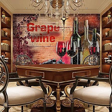 Weaeo 3d Grano De Madera Vino Wallpaper Vintage Bar Salón
