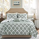 Madison Park Essentials Merritt Full/Queen Size Quilt Bedding Set - Grey, Geometric – 4 Piece Bedding Quilt Coverlets – Ultra Soft Microfiber Bed Quilts Quilted Coverlet