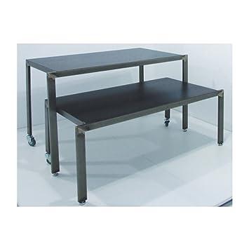 Mesa Industrial diseño con Piano de Chapa Bruto de 128 x 60 x 90 cm con Ruedas: Amazon.es: Hogar