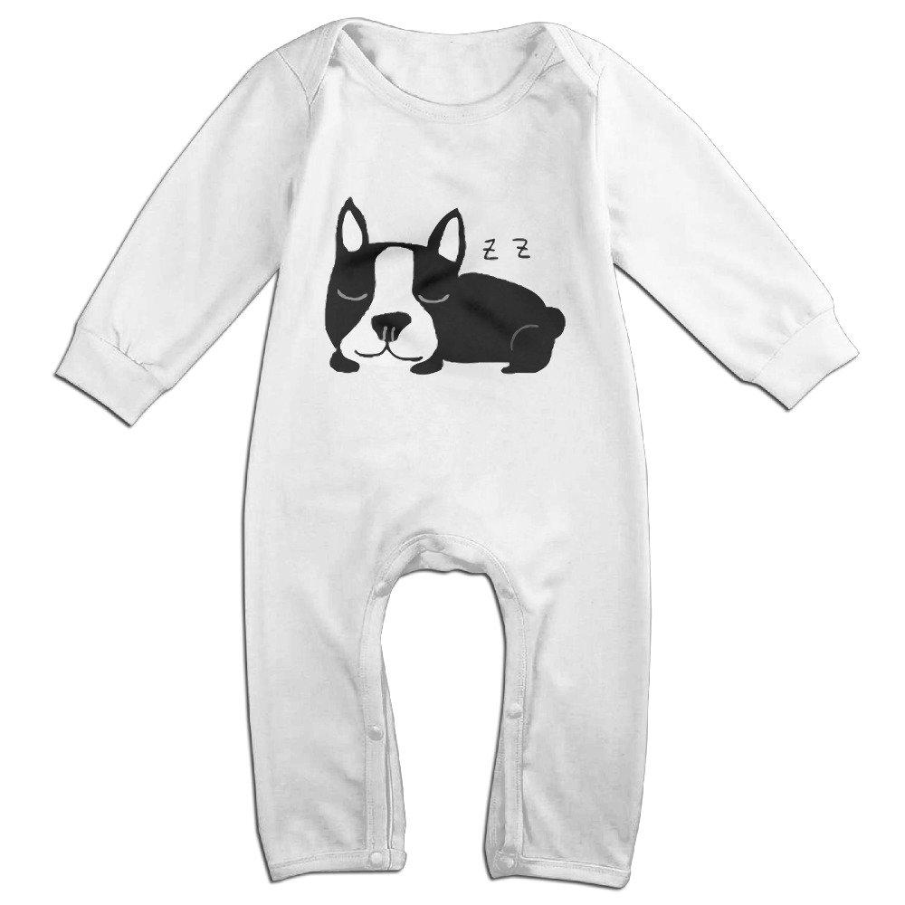 TYUI Cute Sleeping French Bulldog Bodysuit for Newborn Baby White