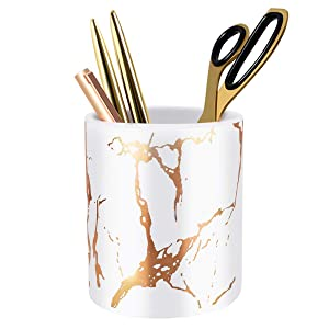 WAVEYU Pen Holder, Stand for Desk Marble Pattern Pencil Cup for Girls Kids Durable Ceramic Desk Organizer Makeup Brush Holder Ideal Gift for Office, Classroom, Home, White Golden