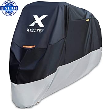 XYZCTEM Motorcycle Cover All Season Waterproof Outdoor Protection Fit up to 116 inch Tour Bikes, Choppers and Cruisers(XXXL,Black& Sliver)