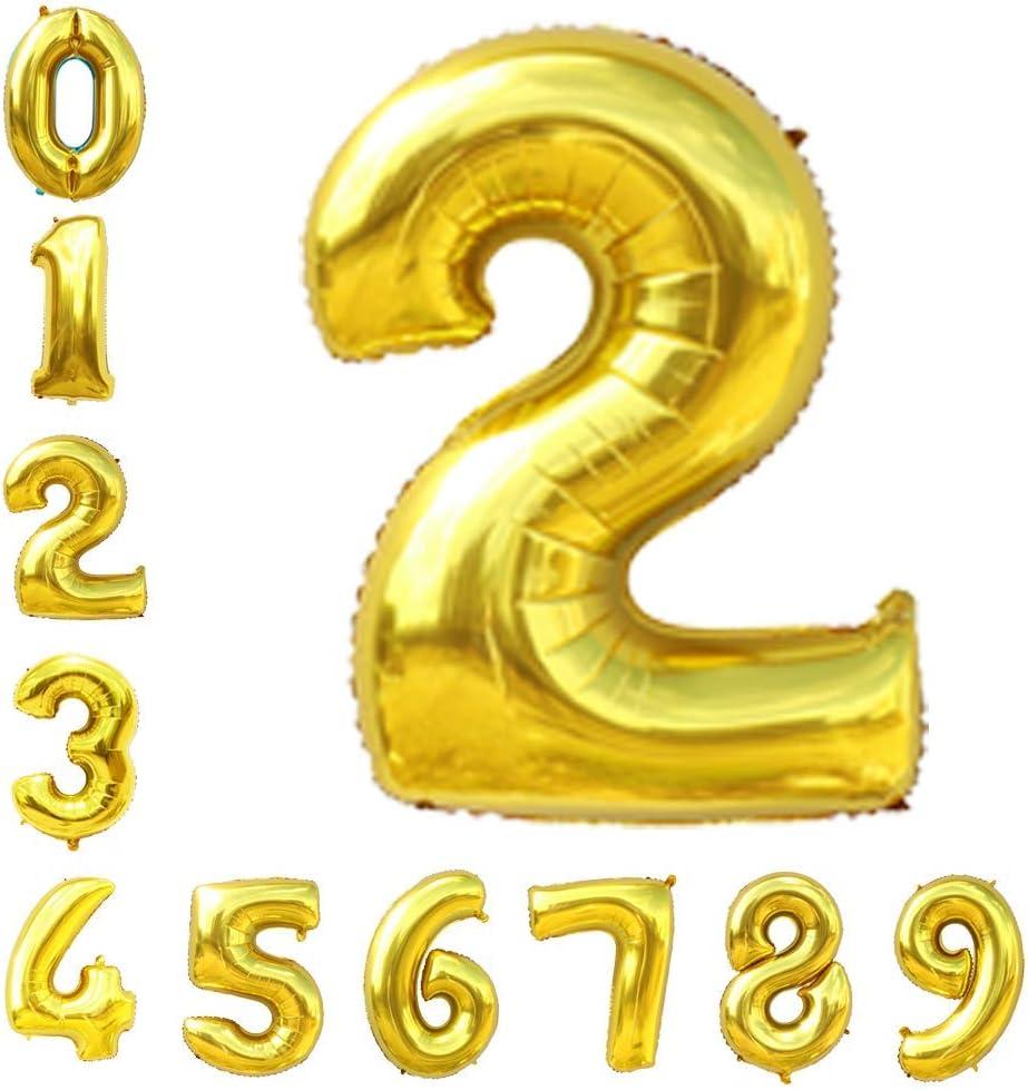 Gold Number Balloons 40inch Helium Birthday Balloons Foil Mylar Digital Balloons for Birthday Engagement Wedding Bridal Shower Anniversary of 2019 BALLOON (2)