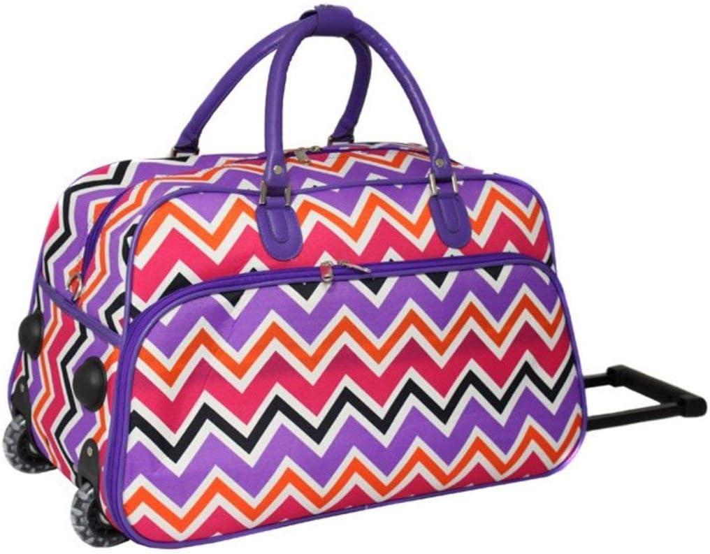 Carry Luggage Girls Orange Chevron Duffel Bag Zig Zag Duffle Purple Green