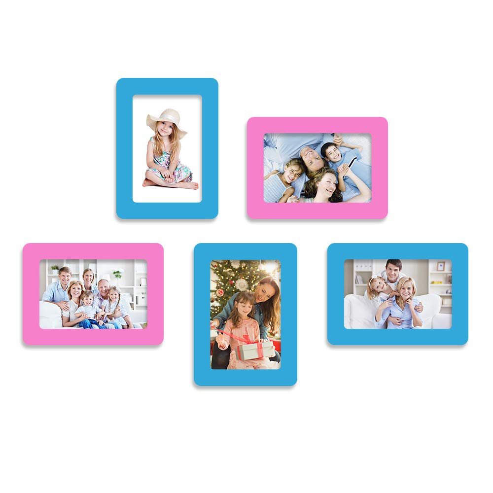 UCMD Fridge Picture Frame for Scenic Photos Decor Magnet Photo Frames 6 x 4 (Blue, White) U&U