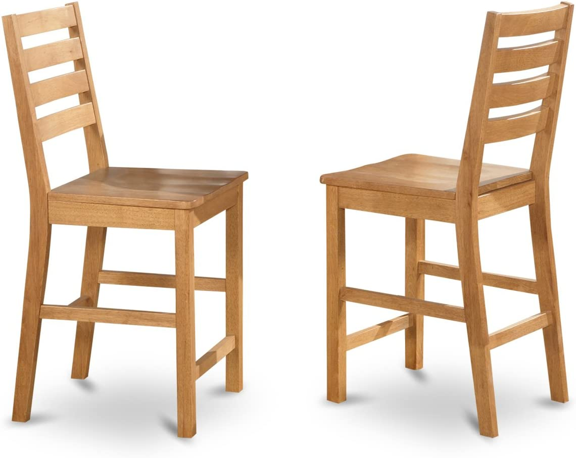 East West Furniture CFS-OAK-W Counter Height Chair Set with Wood Seat, Natural Oak Finish, Set of 2