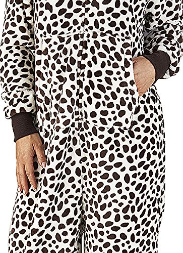 Fleece Marrone Hooded 280GSM One Bianco Spotted All with Pink Jumpsuit Super Brown Luxury Onesie nbsp; Soft in Ladies E Blue Pyjamas Front or Pockets t1qXwPc
